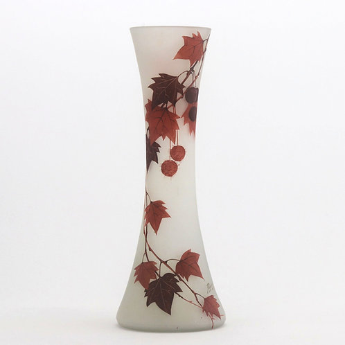 Tall Art Nouveau Hand-Painted Enamel Glass Vase by Peynaud c1915