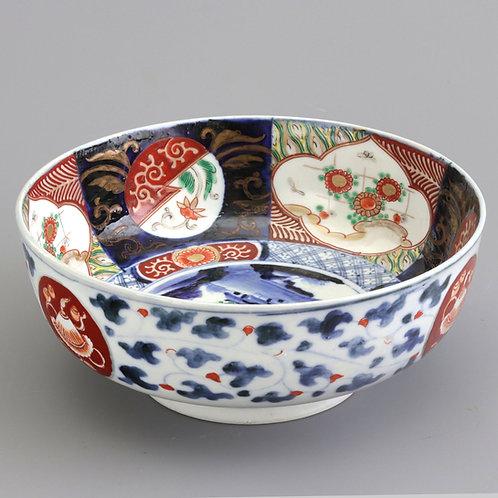 Meiji Period Japanese Imari Bowl With Blue Fuku Mark
