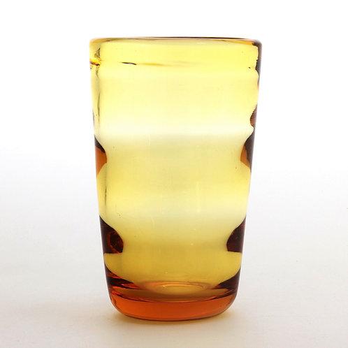 Whitefriars Gold-Amber Horizontally Ribbed Vase c1937
