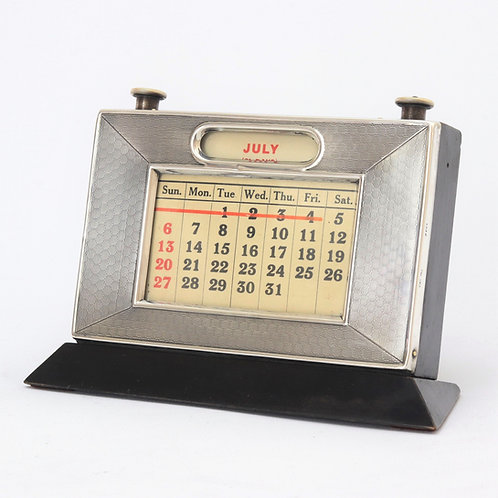 Art Deco Silver Framed Perpetual Desk Calendar 1930