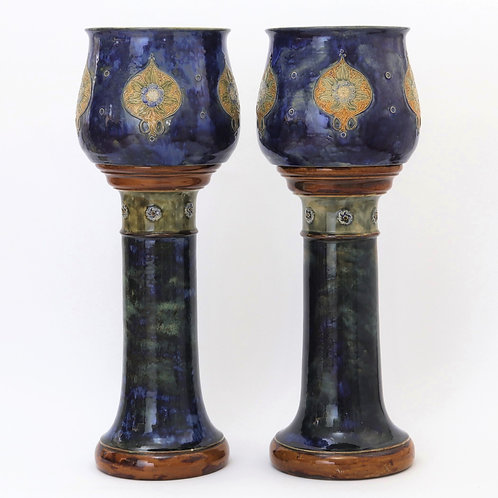 Pair of Royal Doulton Jardinieres on Stands c1905