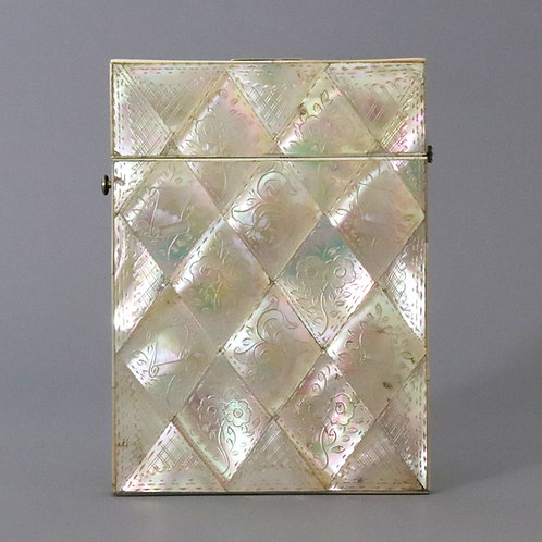 Antique Engraved Mother-of-Pearl Calling Card Case