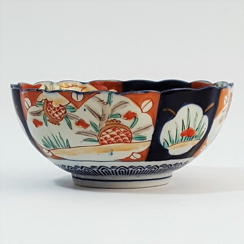 Antique Japanese Imari Footed Bowl side view