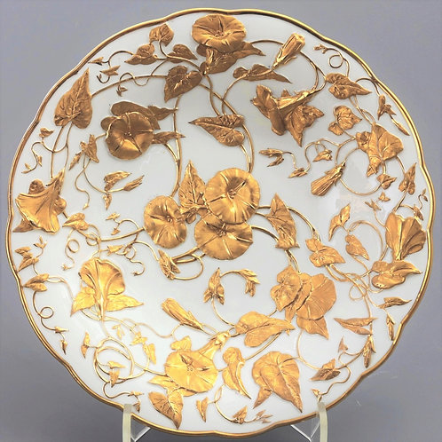 Meissen Art Nouveau Relief Gilt Decorated Porcelain Dish