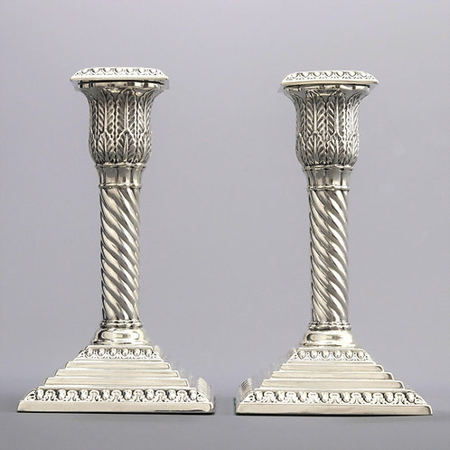 Pair of Silver Candlesticks by Walker & Hall London 1895