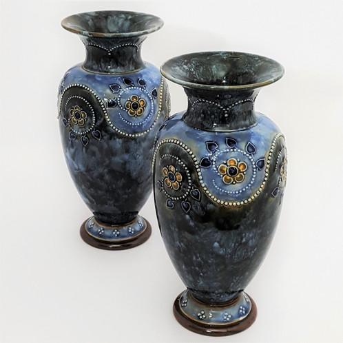 Antique Pair Of Royal Doulton Lambeth Stoneware Vases C1910