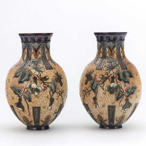 Doulton Lambeth Stoneware Vases by Edith Lupton 1886
