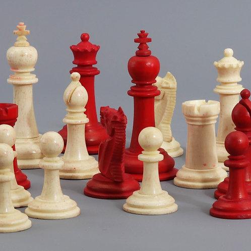 Classic Staunton Bone Chess Set in Rosewood and Brass Box c.1900