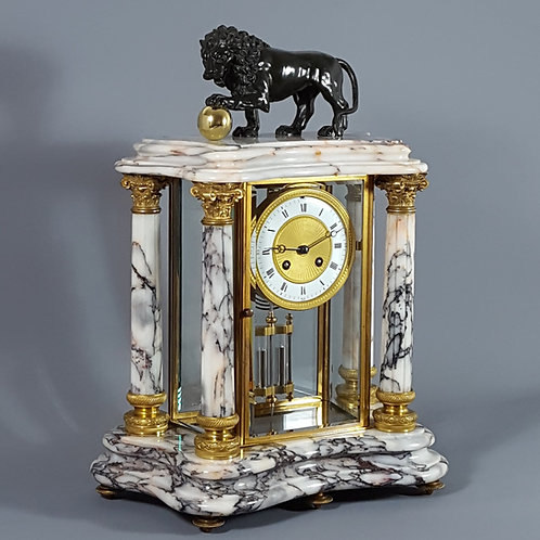French Carrara Marble and Gilt Brass Four Glass Mantel Clock Japy & Cie