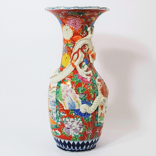 Large Antique Hichozan Fukagawa Vase C1870