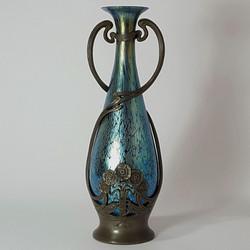 Loetz Papillon and Pewter Vase