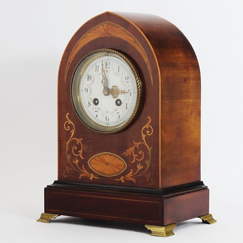 Inlaid Mahogany Lancet Striking Mantel Clock by F Marti c.1895