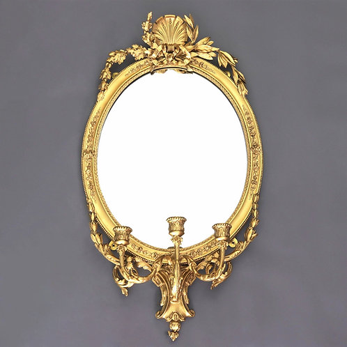 19th Century Gilt Wood and Gesso Oval Girandole Mirror