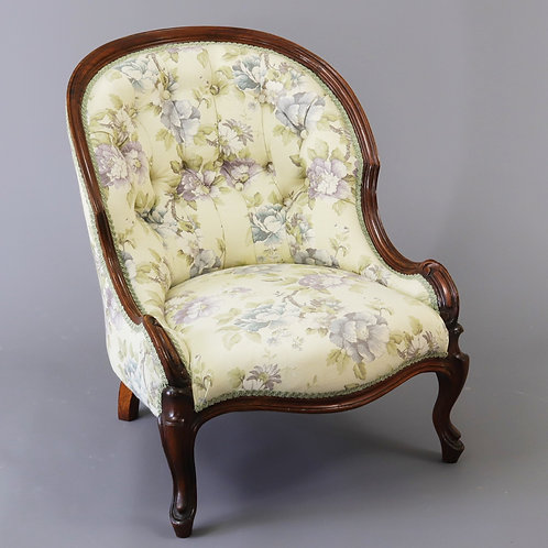 Early Victorian Walnut Button Back Bergere Chair