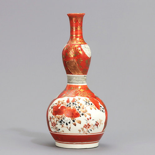Japanese Small Double Gourd Vase Signed Kutani c1900