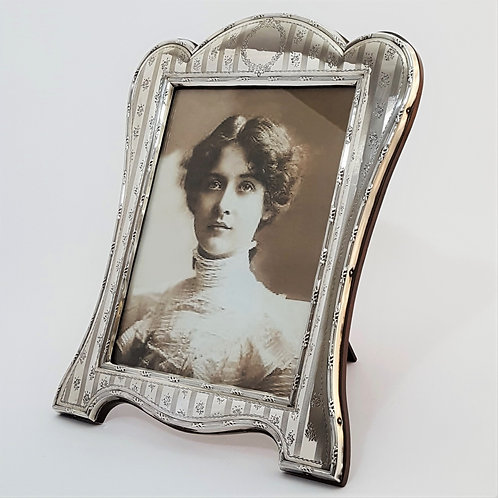 Large Shaped and Engraved Antique Silver Photo Frame 1914
