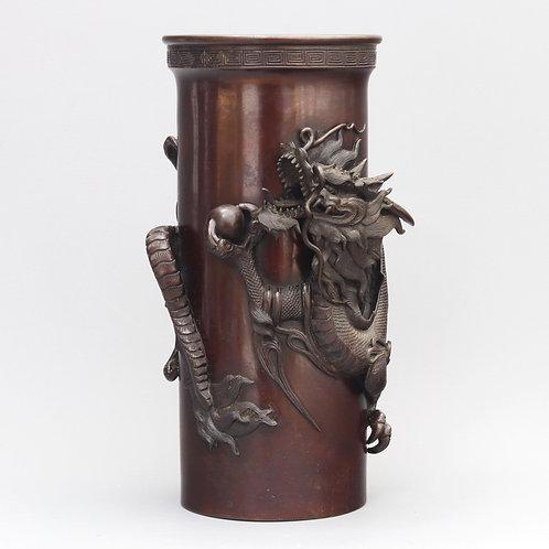 Japanese Meiji Period Signed Bronze Dragon Vase