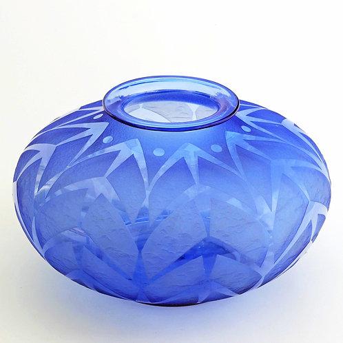 Large Daum Nancy Art Deco Acid Etched Blue Glass Vase