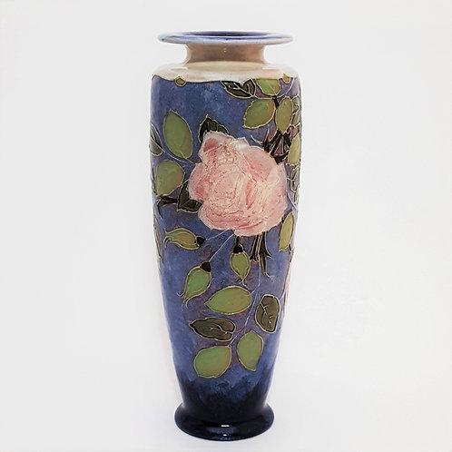 Tall Royal Doulton Tubelined Stoneware Vase by F Jones c1910