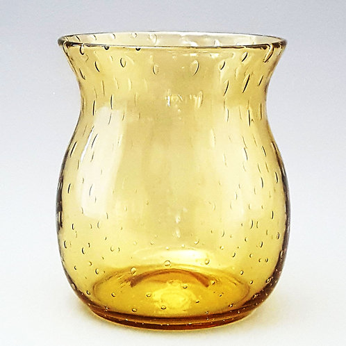 Stevens and Williams Amber Bubble Glass Vase by Keith Murray c1930s