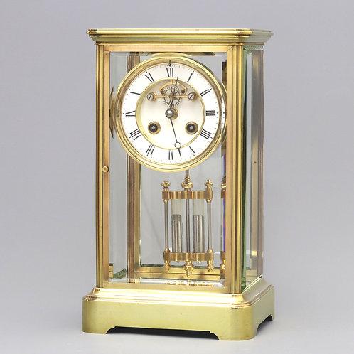Four Glass Mantel Clock With Visible Escapement by Marti et Cie c1880