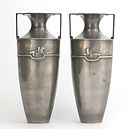 Pair of Art Nouveau Pewter Twin-Handled Vases by William Hutton c1910