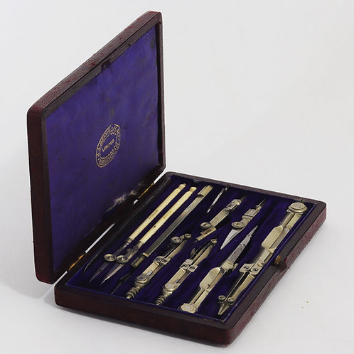 Antique Cased Drawing Instrument Set by J.A. Reynolds & Co