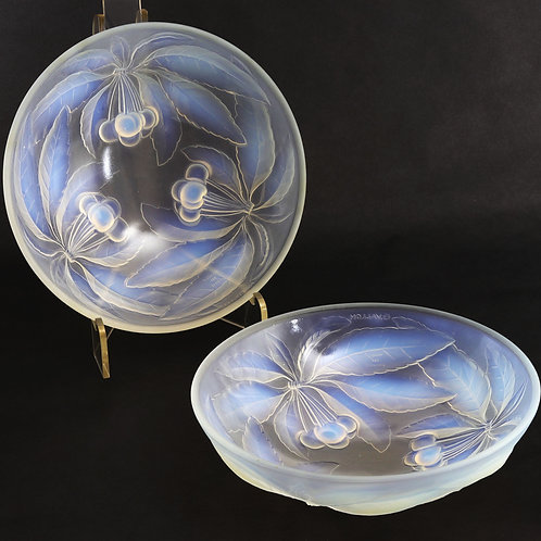 Pair of Art Deco French Opalescent Glass Bowls