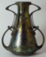 Loetz Papillon Glass and Pewter Vase c1905