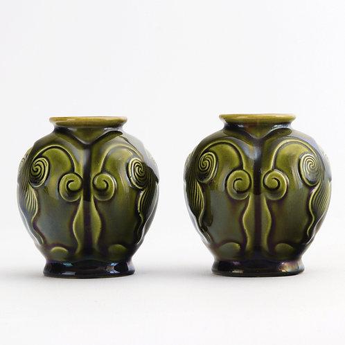Christopher Dresser Signed Linthorpe Pottery Vases c1880