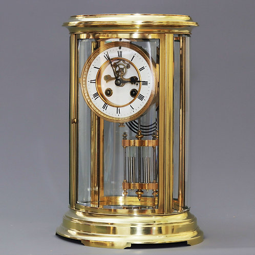 Oval Four Glass Mantle Clock with Visible Escapement by S Marti c1895