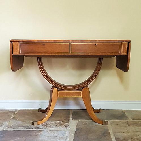Regency Style Brass Inlaid Mahogany Sofa Table