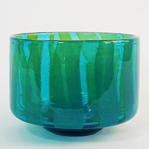 """Mdina Glass Blue and Amber """"Ming"""" Bowl"""