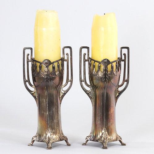 Pair of WMF Jugendstil Candle Holders c1920
