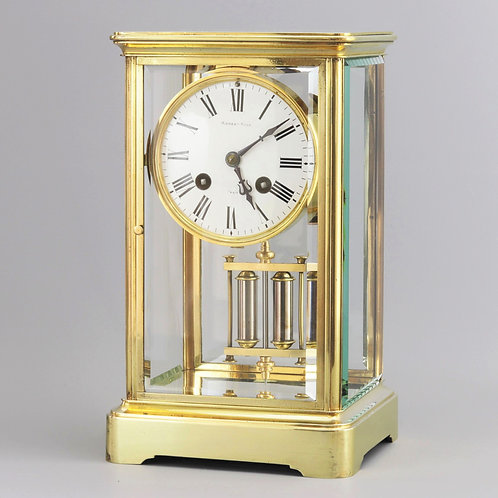 Brass Four Glass Striking Mantle Clock Signed Robert Ross, Paris c.1880