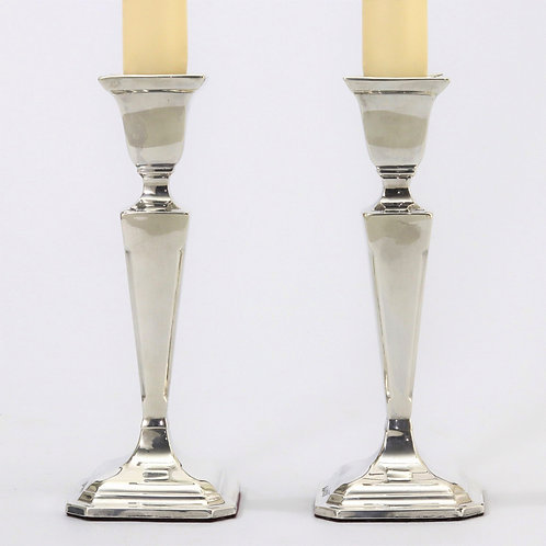 Pair of Silver Art Deco Candlesticks by E J Houlston 1928