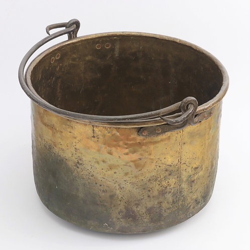 Large 19th Century Age Patinated Brass Log Bin with Iron Swing Handle c1875
