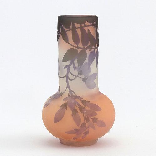 Galle Art Nouveau Three-Colour Cameo Glass Vase