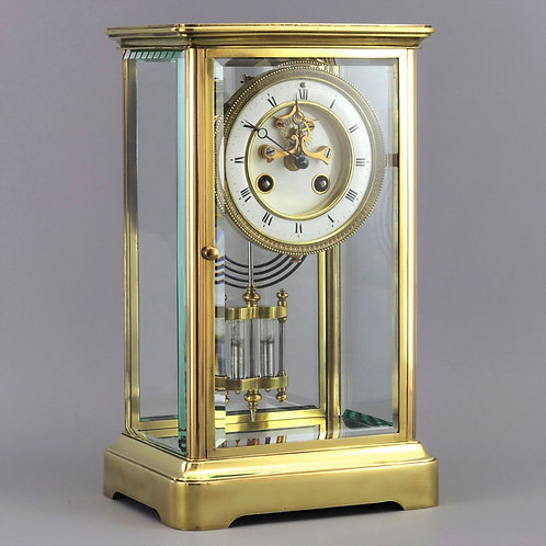 Four Glass Striking Mantle Clock with Exposed Escapement by Marti c.1895
