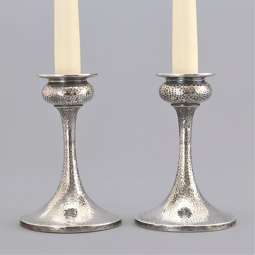 Pair of Arts & Crafts Silver Candlesticks by S Blanckensee & Son