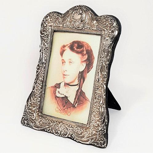 Antique Repousse Silver Photo Frame 1903