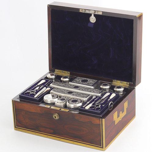 Georgian Brass Bound Rosewood Dressing Box c1825/6