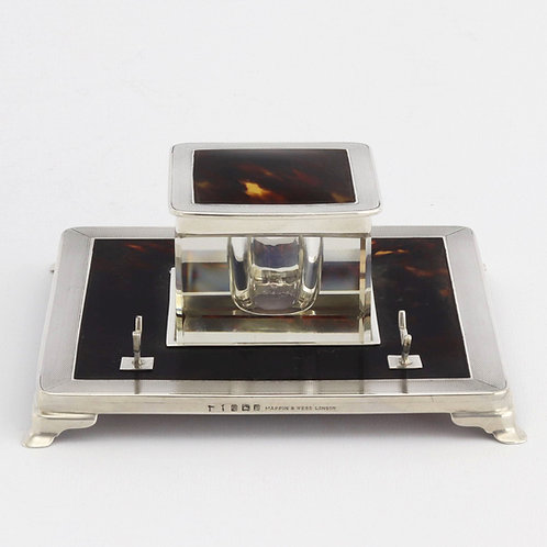 Art Deco Silver and Tortoiseshell Inkwell Stand by Mappin & Web