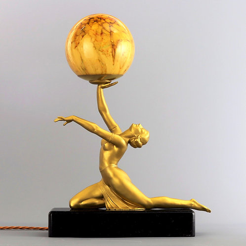 Art Deco Gilded Figural Table Lamp with Glass Globe c1930
