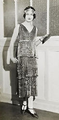 1926 layered lamée dress and tiara by Paul Poiret
