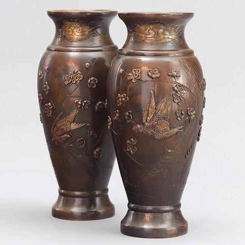Pair of Meiji Period Japanese Bronze Vases c1880