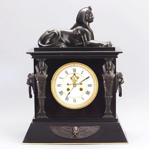 Antique Marble Egyptian Revival Mantle Clock c1875