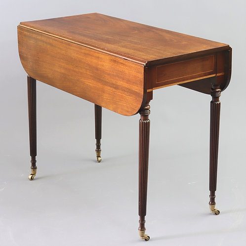 Georgian Figured Mahogany Pembroke Table with Fluted Legs