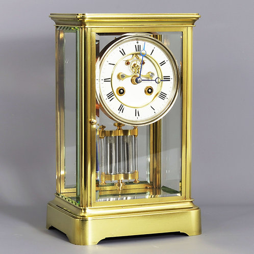 Four Glass Striking Mantle Clock with Exposed Escapement, Marti c.1875