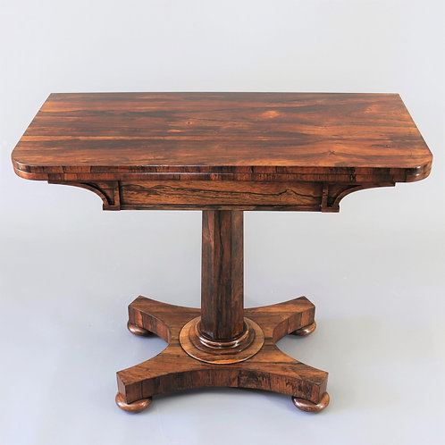 William IV Rosewood Fold-Over Tea Table front view